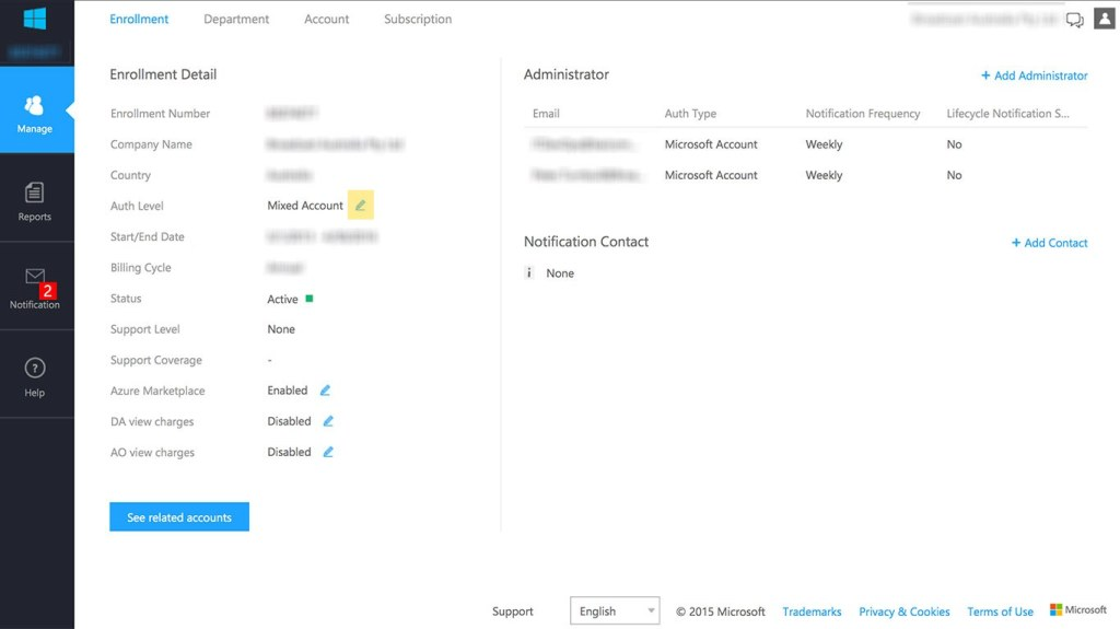 Azure EA Auth Level